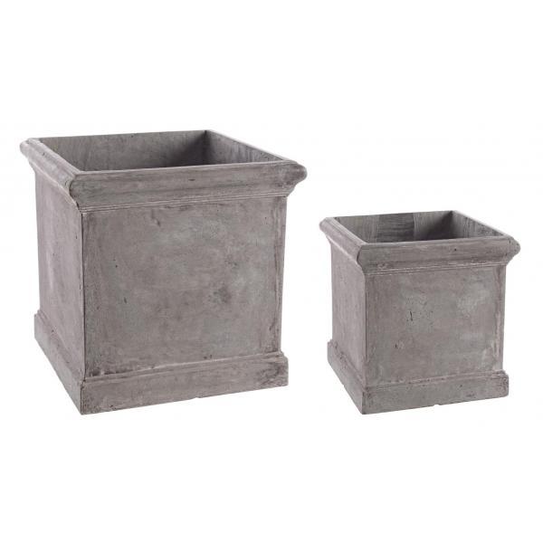 Set De 2 Vase Gri Patrate Cement-0790558-Siart