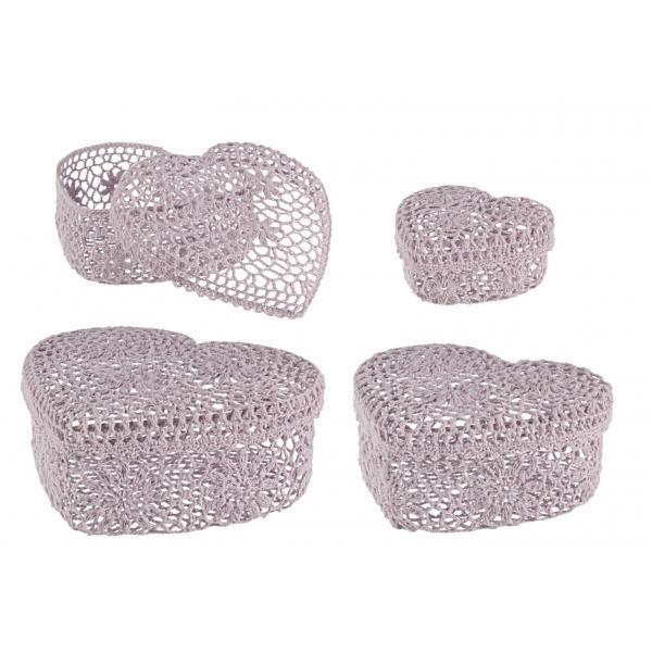 Set De 4 Cutii Roz In Forma De Inima Crochet-0380188-Siart