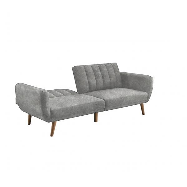 Canapea extensibila 3 locuri din catifea, model Brittany, 207cm, gri