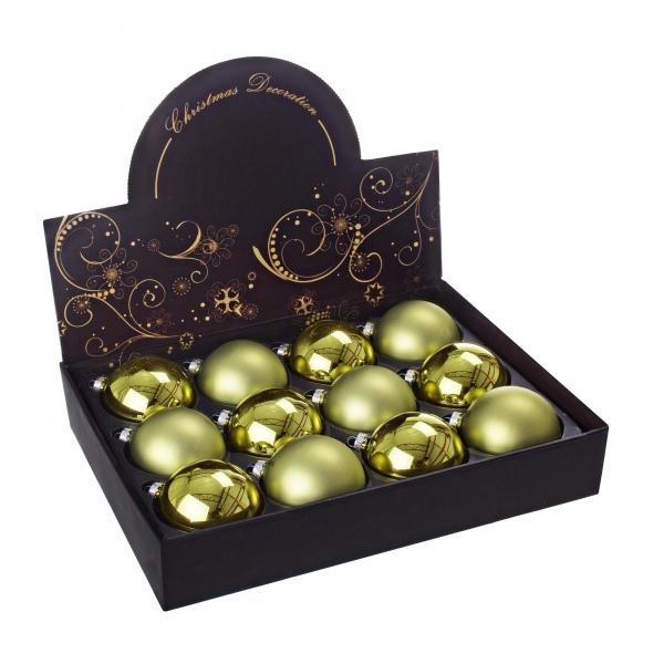 Set 12 globuri, sticla, aurii, 80 mm - Siart