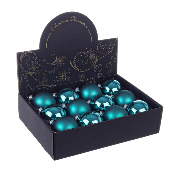 Set 12 bucati globuri albastre, 80 mm