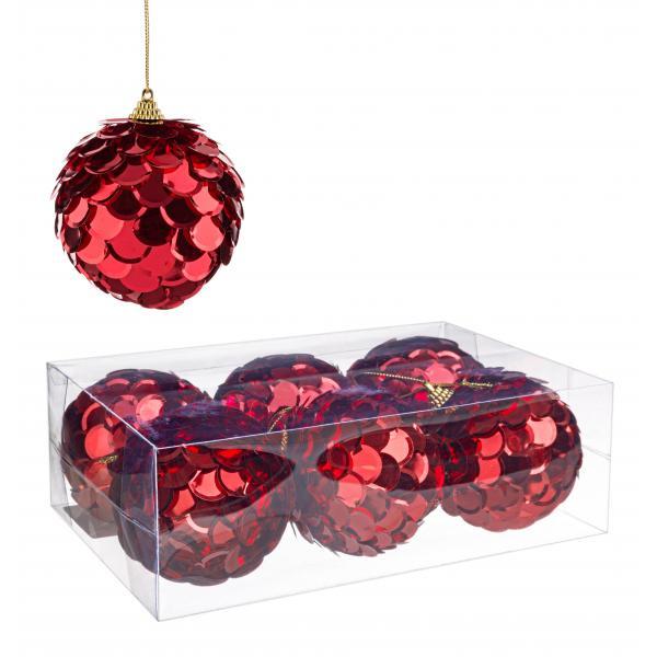Set 6 globuri rosii